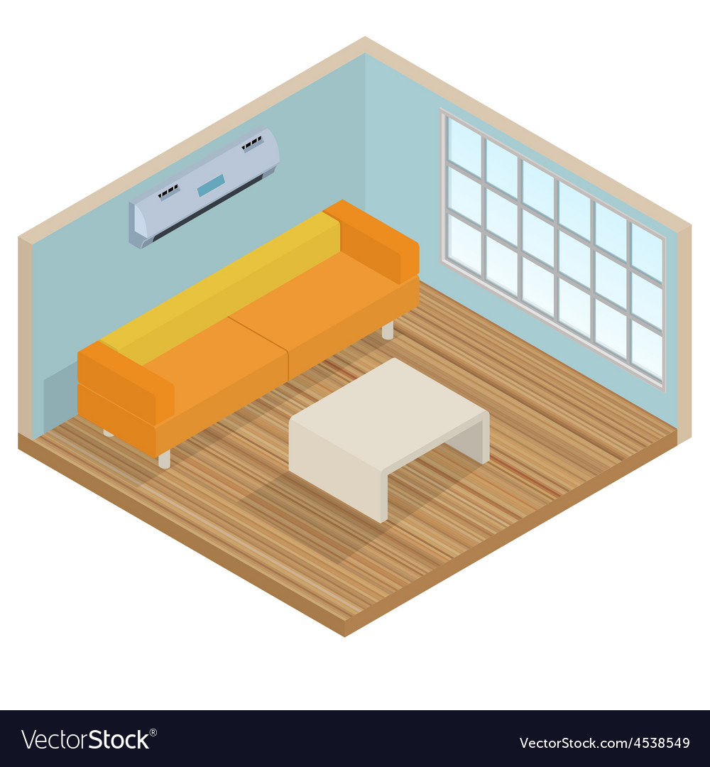 Isometric interior lounge room vector | Price: 1 Credit (USD $1)