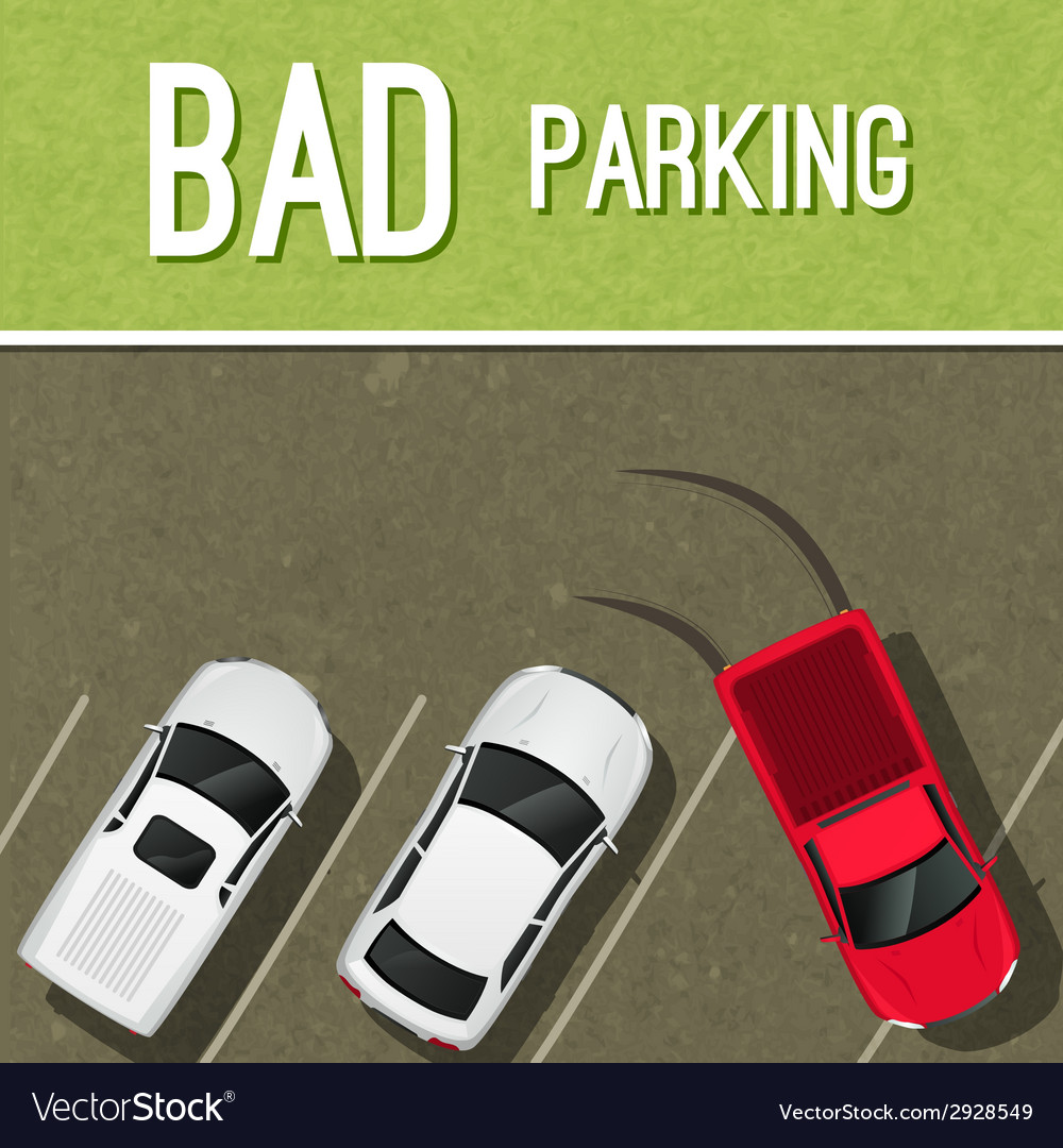 Parking scene poster vector | Price: 1 Credit (USD $1)
