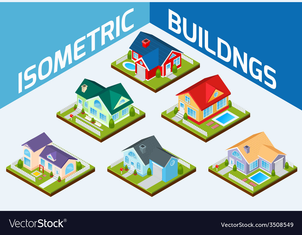 Private houses set vector | Price: 1 Credit (USD $1)
