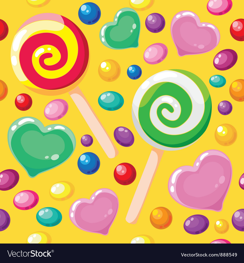 Seamless pattern cute candies vector | Price: 1 Credit (USD $1)