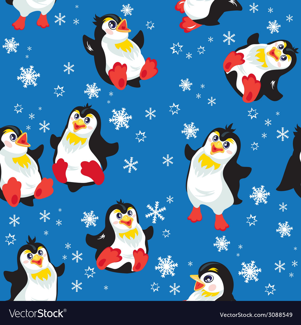 Seamless pattern with funny penguins and snowflake vector | Price: 1 Credit (USD $1)