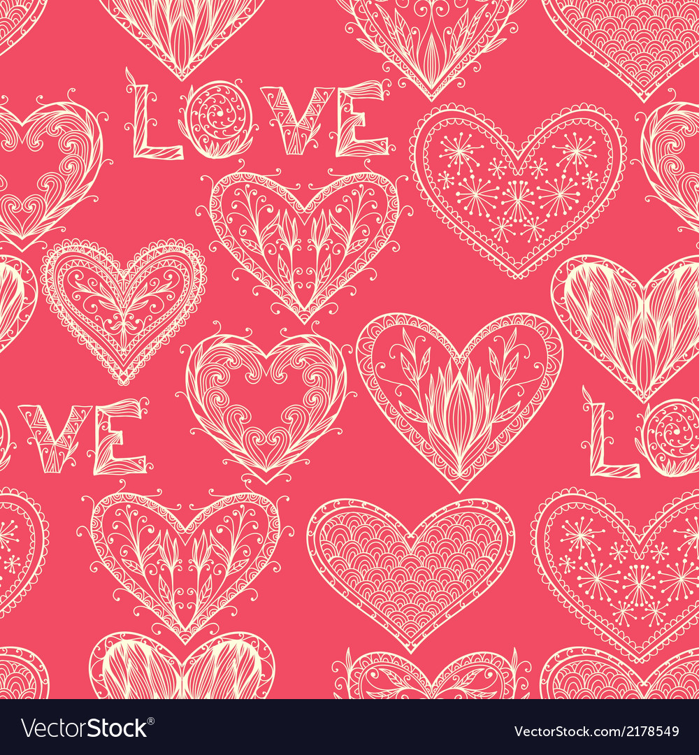 Seamless pink monochrome valentine pattern vector | Price: 1 Credit (USD $1)