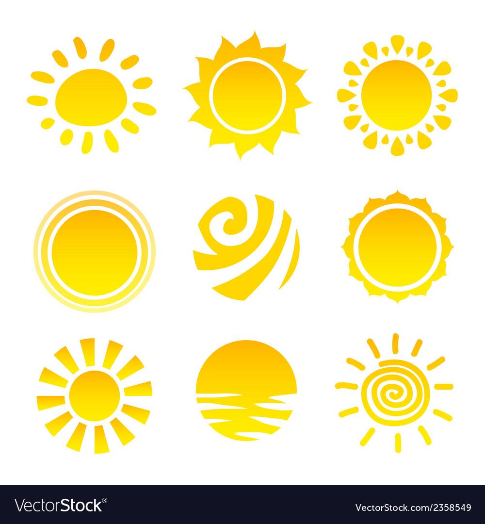 Sun icons set vector | Price: 1 Credit (USD $1)