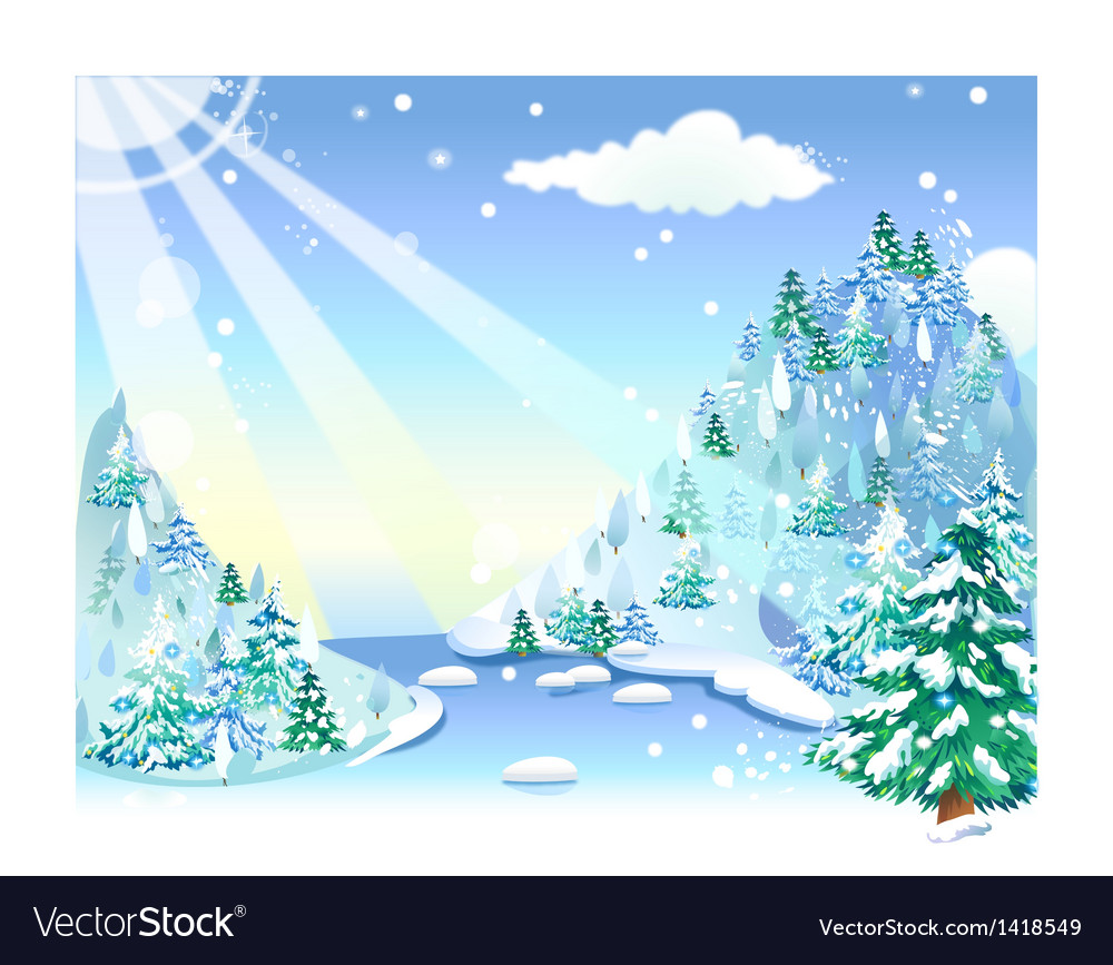 Winter snow landscape vector | Price: 1 Credit (USD $1)