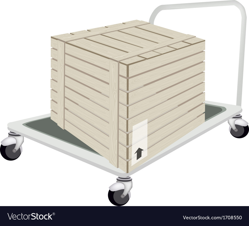 A hand truck loading a shipping box vector | Price: 1 Credit (USD $1)
