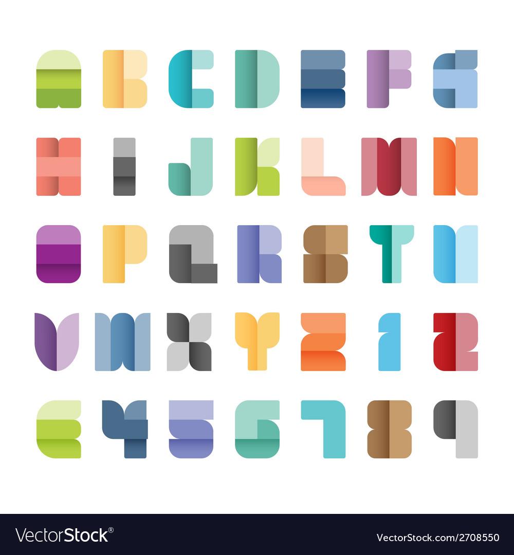 Alphabet set type font paper colour style vector | Price: 1 Credit (USD $1)