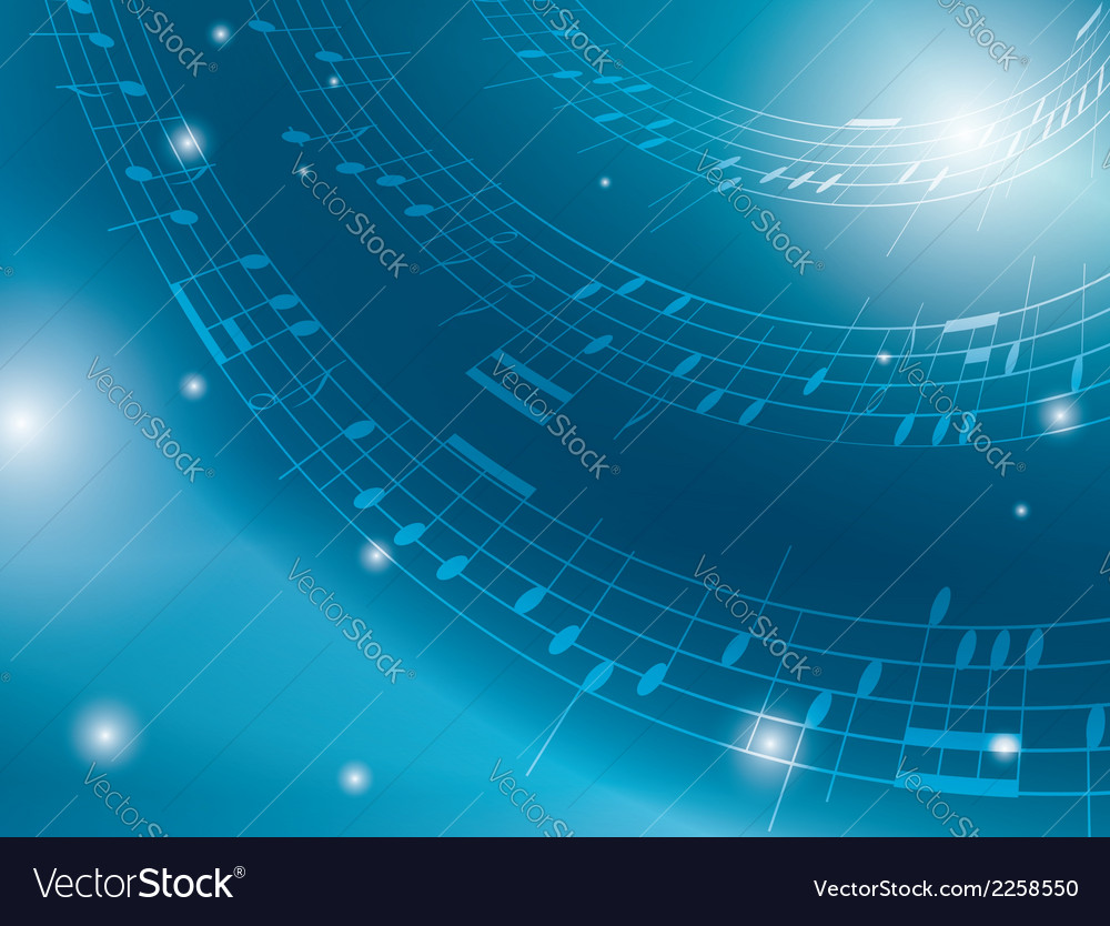 Blue background with musical notes vector | Price: 1 Credit (USD $1)