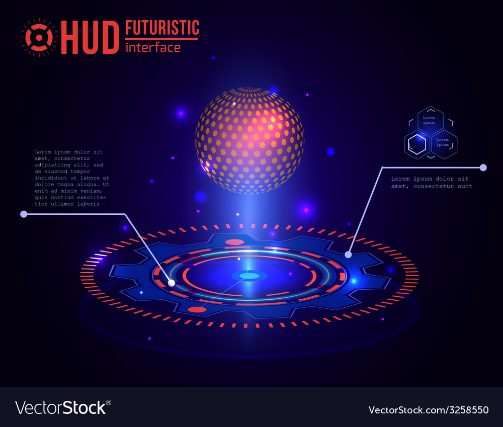Futuristic hud interface elements virtual touch vector | Price: 1 Credit (USD $1)