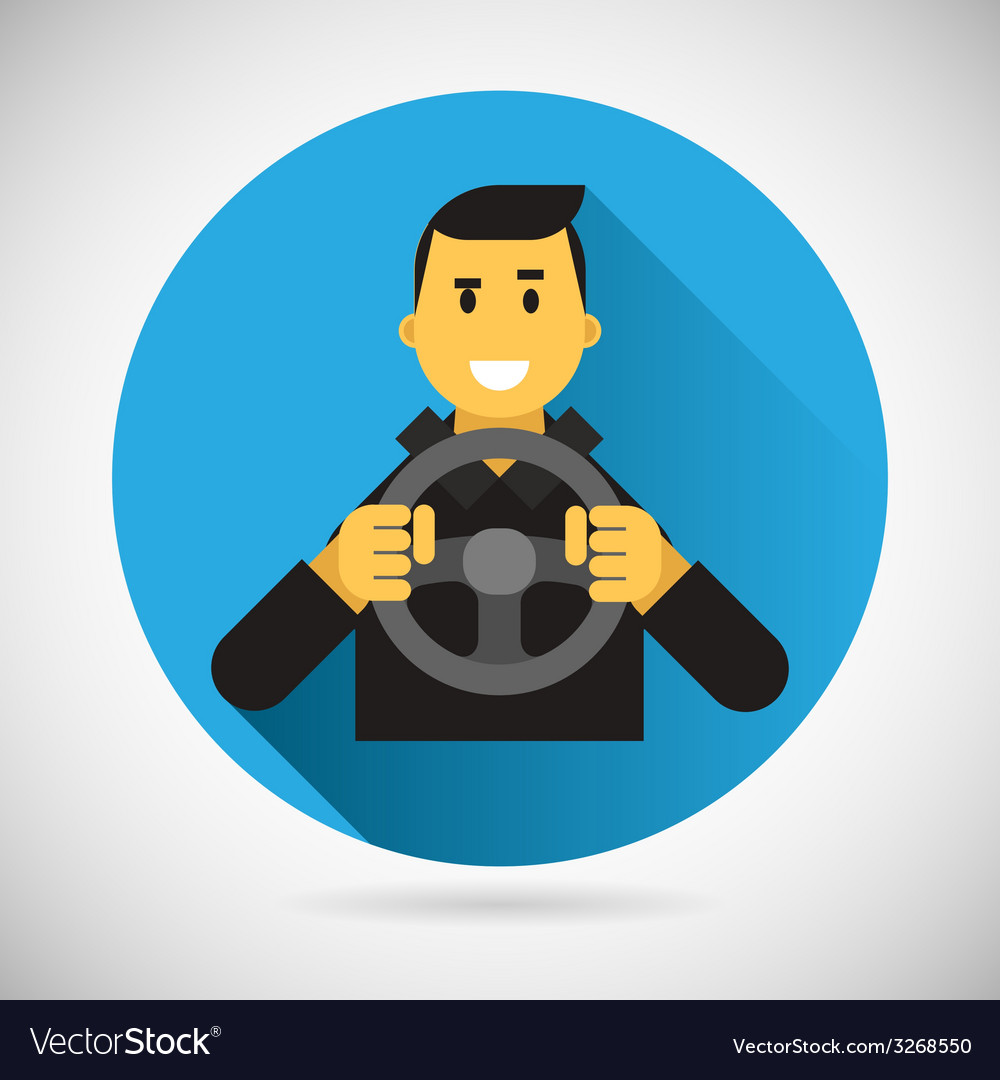 Happy smiling driver character with car wheel icon vector | Price: 1 Credit (USD $1)