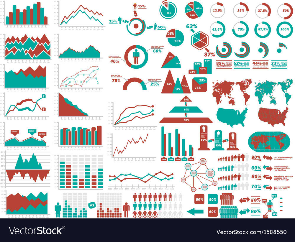 New style web elements infographic demographic red vector | Price: 1 Credit (USD $1)