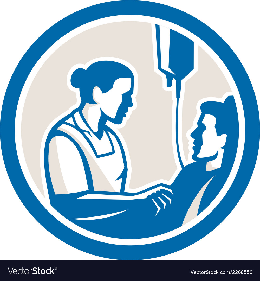 Nurse tending sick patient circle retro vector | Price: 1 Credit (USD $1)