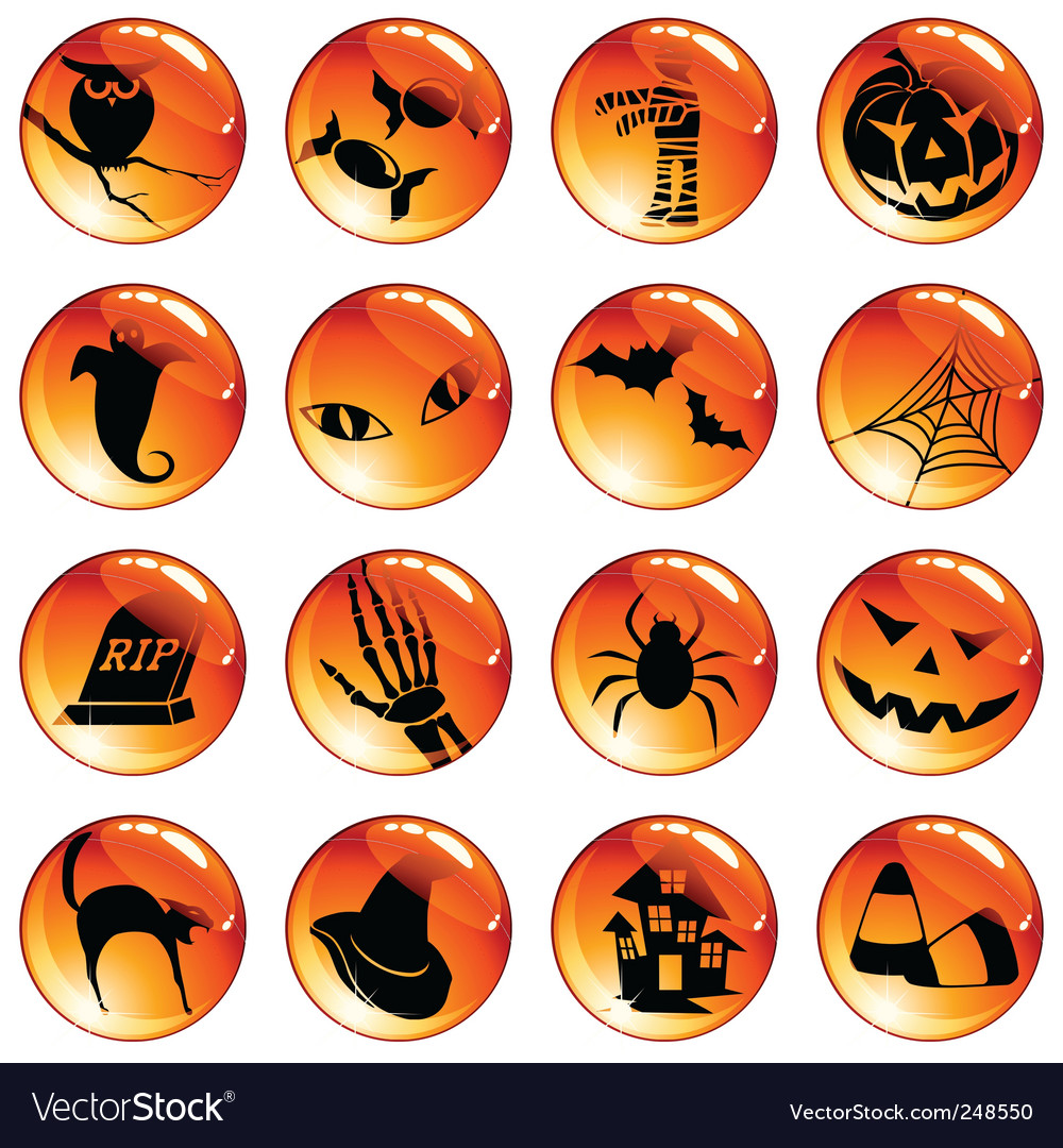Set of orange halloween icons vector | Price: 1 Credit (USD $1)