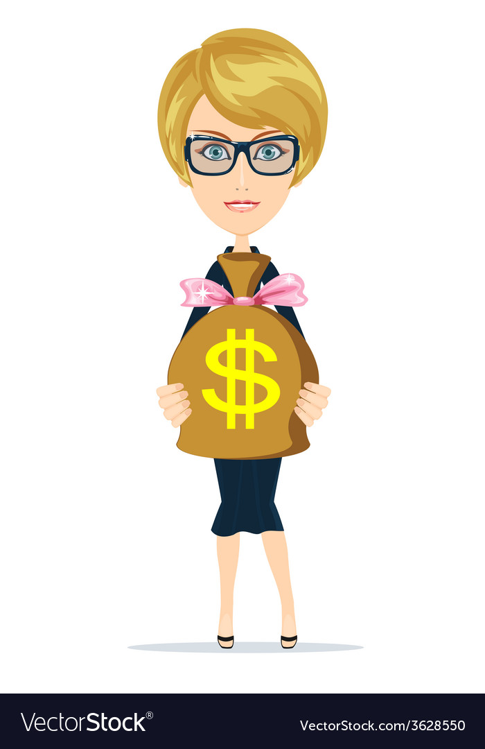 Successful businesswoman with a bag of dollar gold vector | Price: 1 Credit (USD $1)