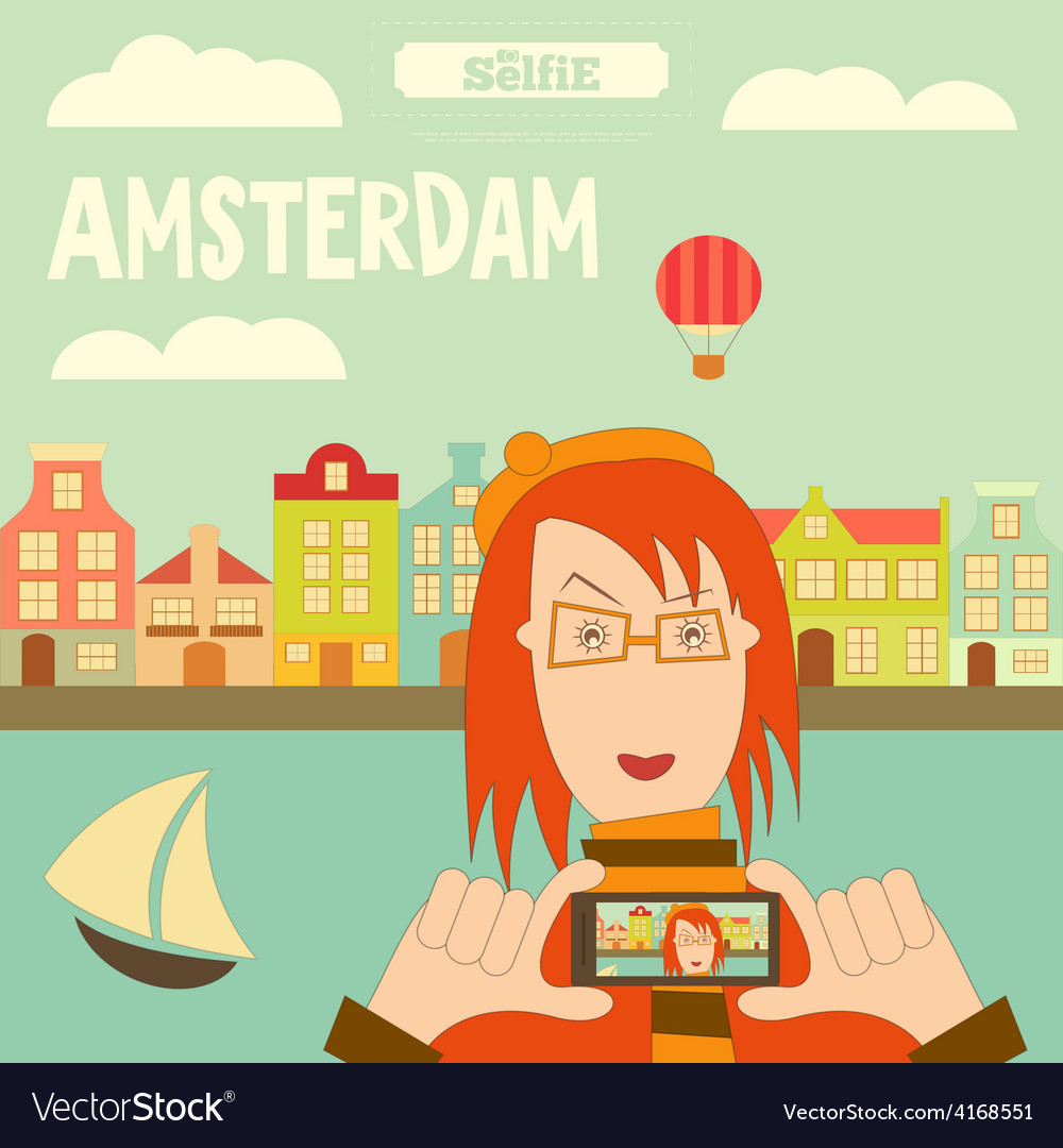 Amsterdam selfie vector | Price: 1 Credit (USD $1)