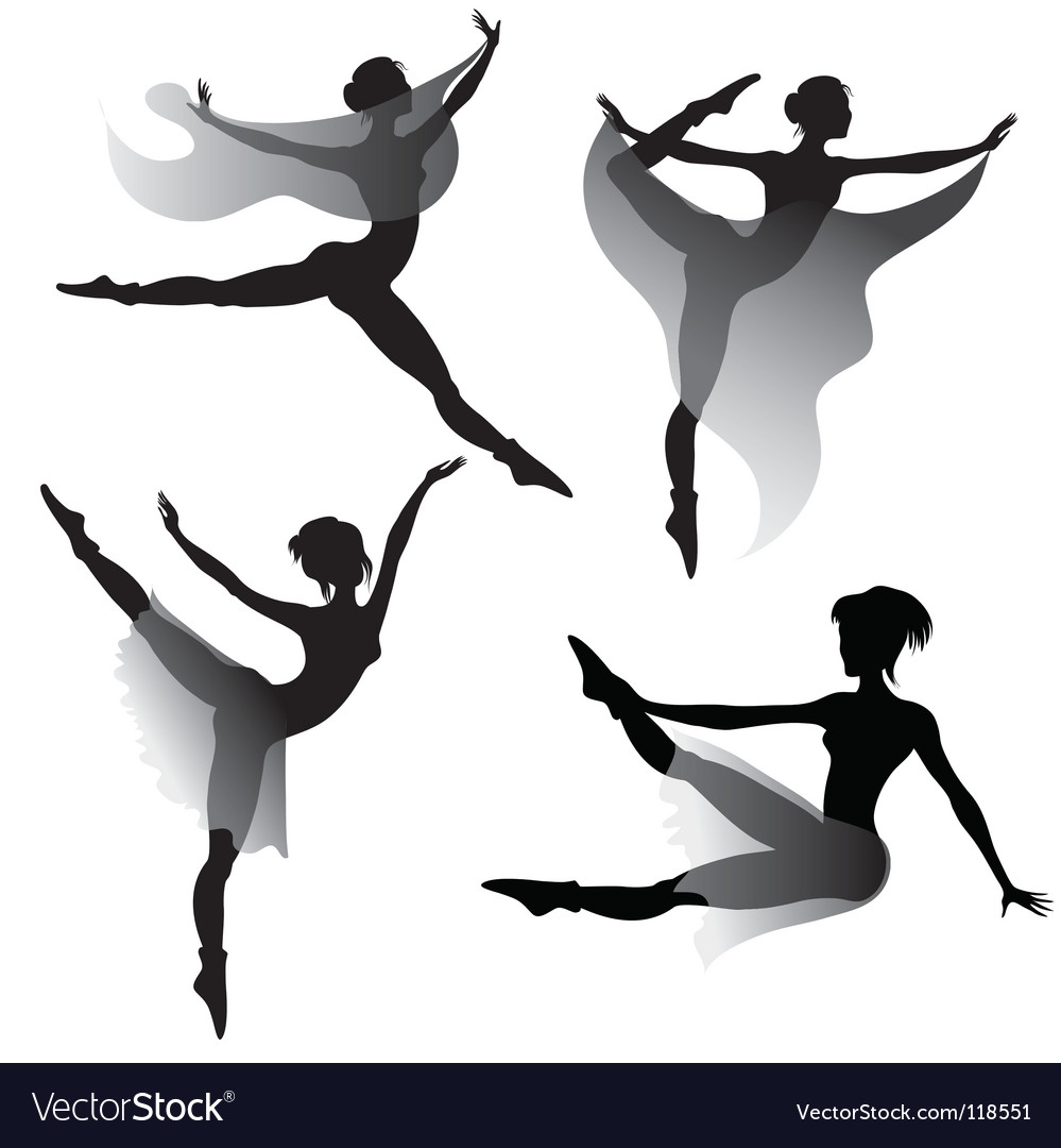 Ballet dancers silhouettes vector | Price: 1 Credit (USD $1)