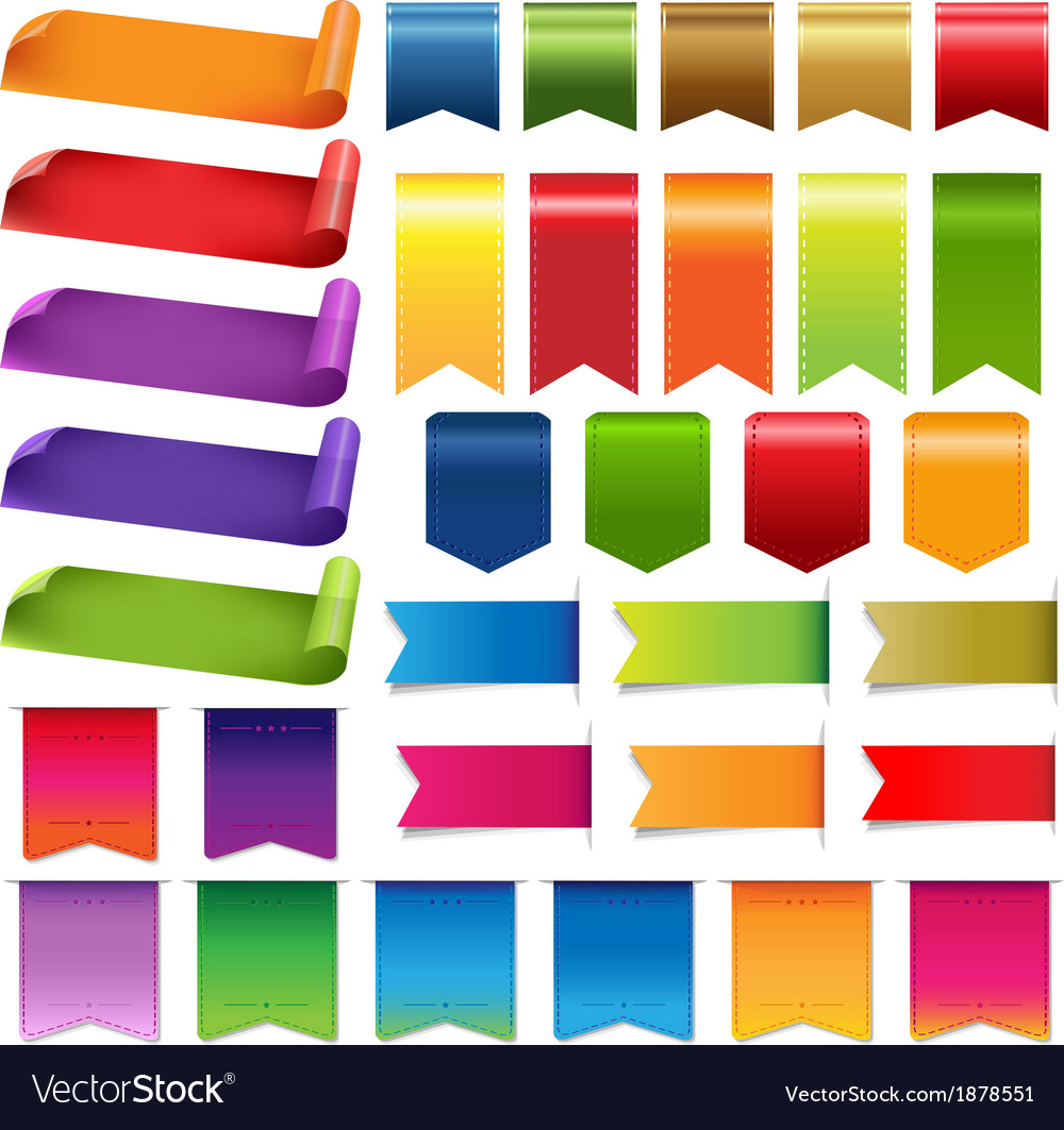 Colorful ribbons and label big set vector | Price: 1 Credit (USD $1)