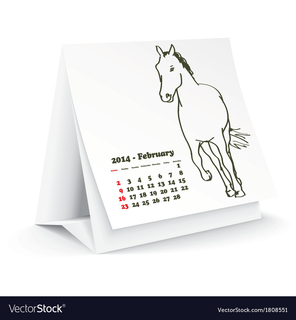 February 2014 desk horse calendar vector | Price: 1 Credit (USD $1)