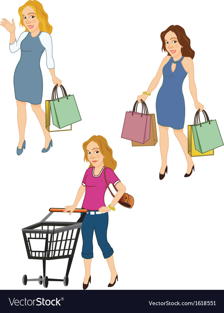 Female shoppers vector | Price: 1 Credit (USD $1)