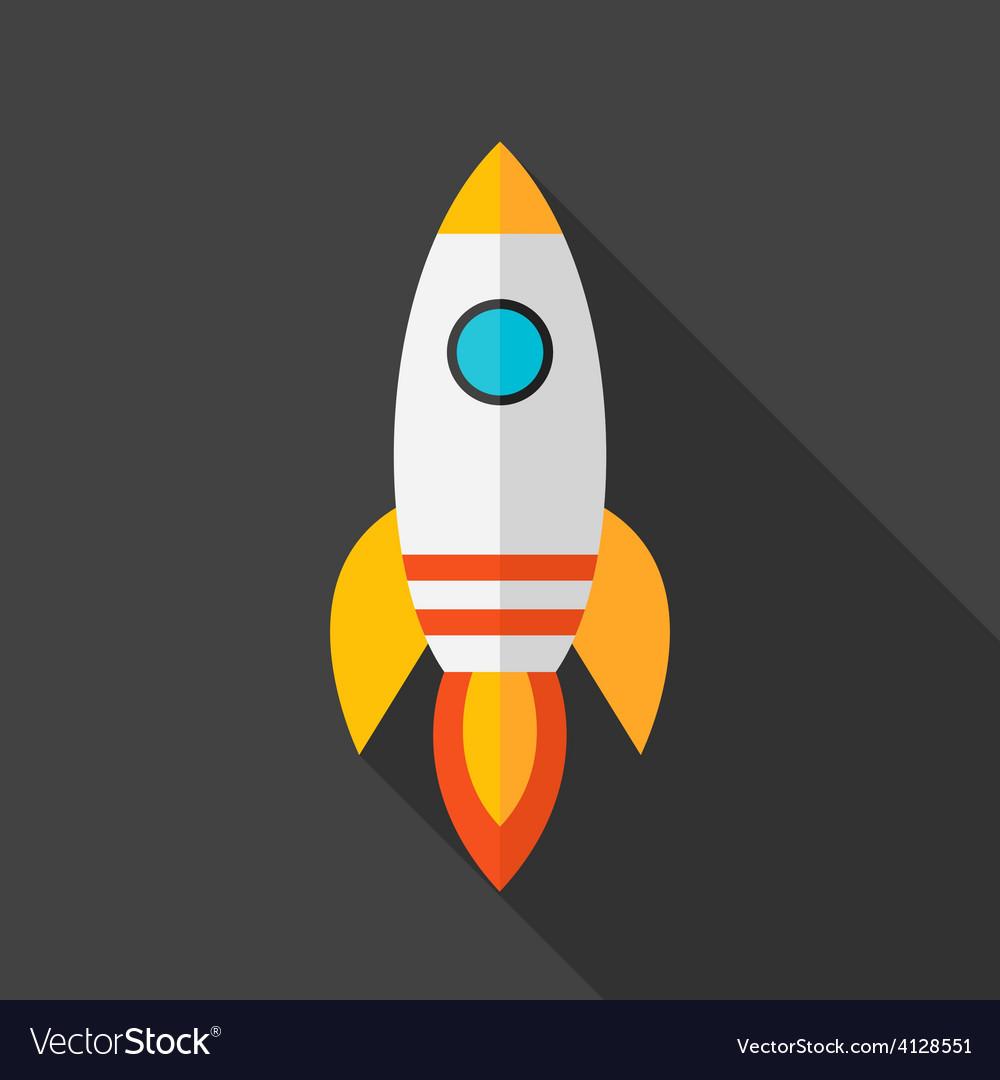 Flat stylized rocket vector | Price: 1 Credit (USD $1)