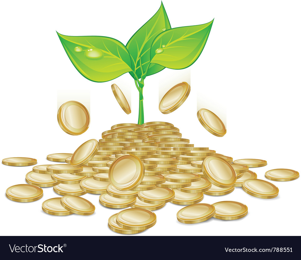 Gold coins sprout plants vector | Price: 1 Credit (USD $1)
