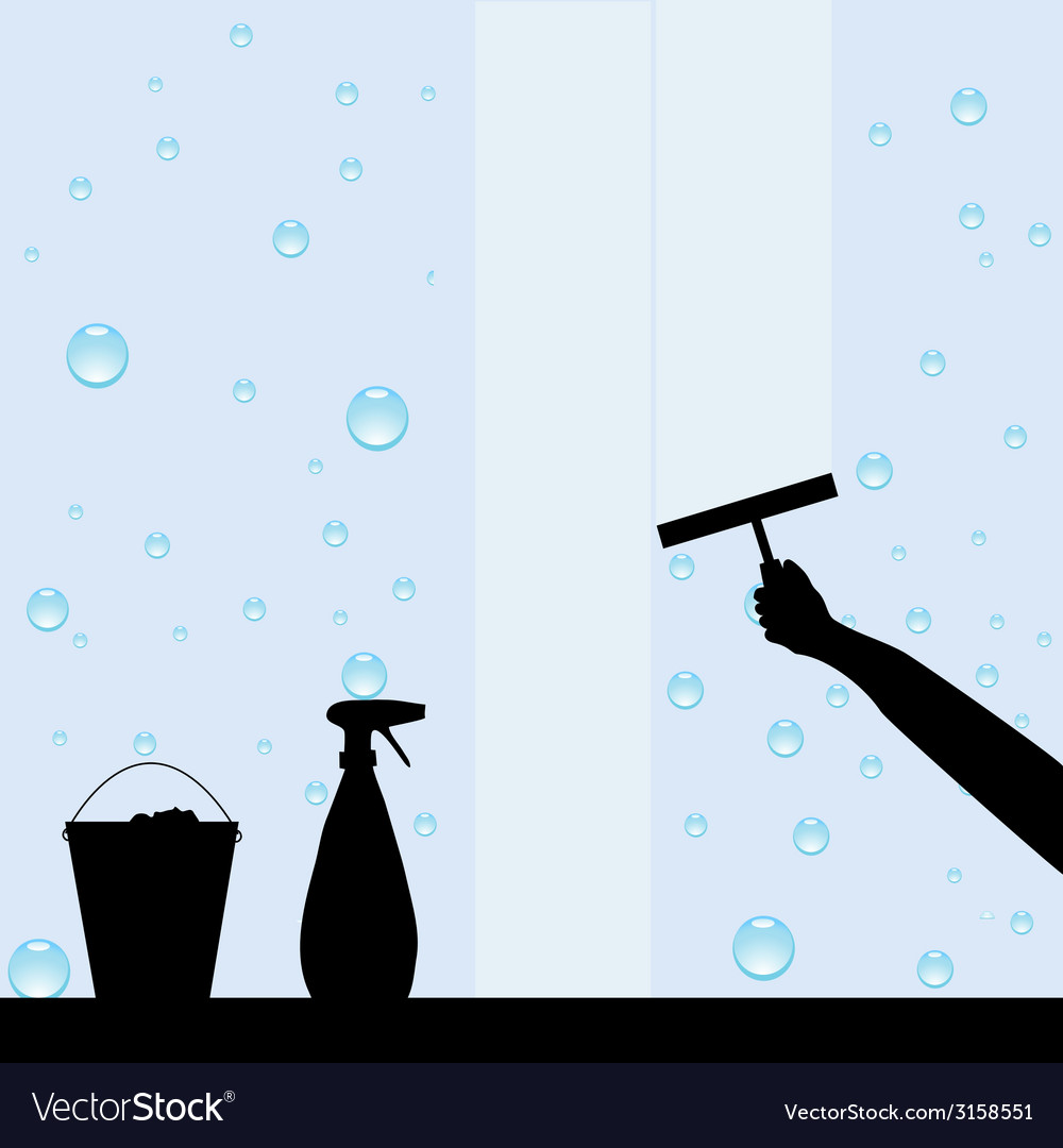 Hand cleaning windows vector