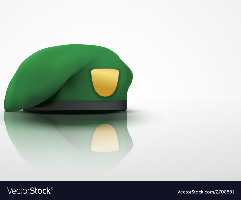 Light background green military beret army special vector | Price: 1 Credit (USD $1)