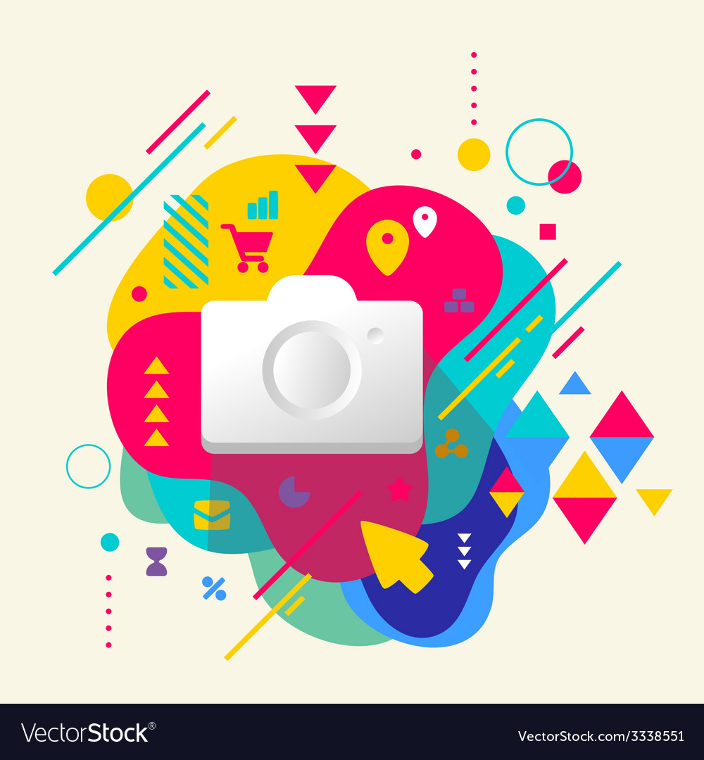 Photo camera on abstract colorful spotted vector | Price: 3 Credit (USD $3)