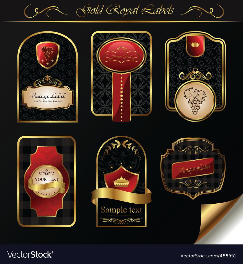 Set black gold framed labels vector   Price: 1 Credit (USD $1)