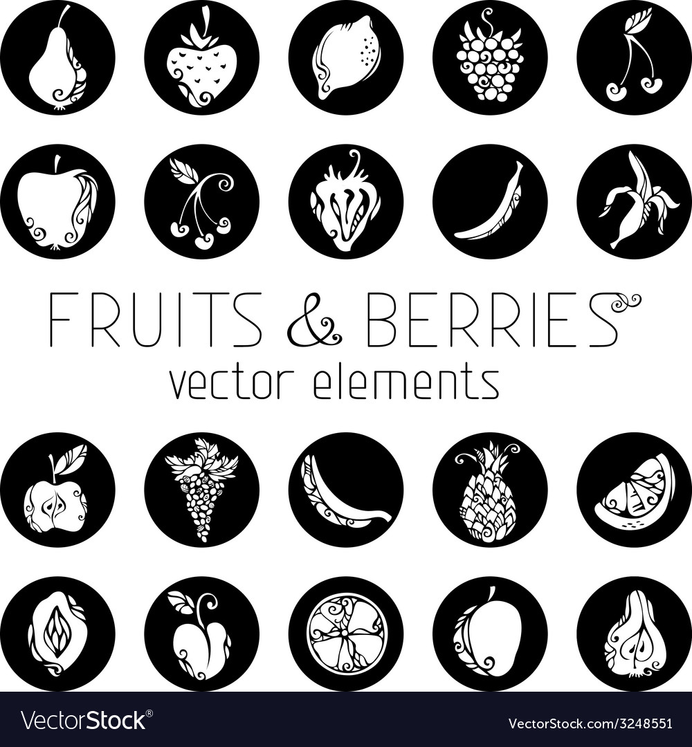 Set of round icons with fruits and berries vector | Price: 1 Credit (USD $1)