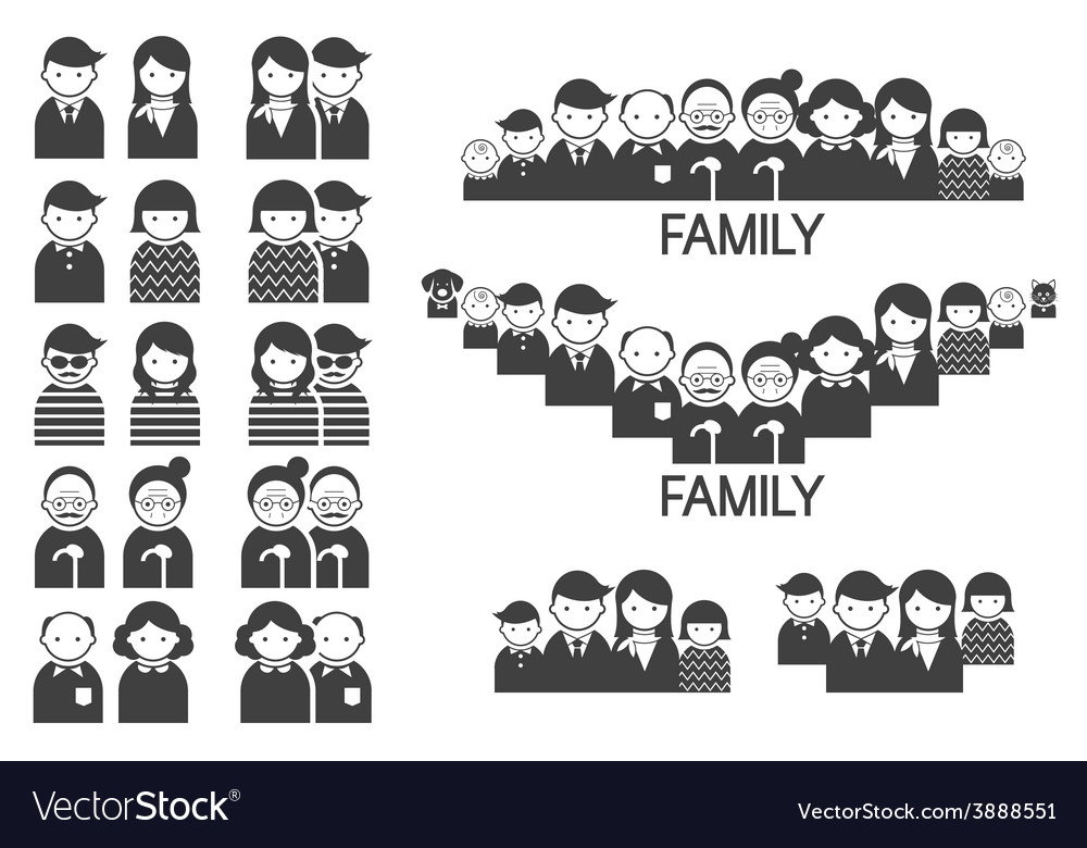 Various people symbol icons couple and family set vector | Price: 1 Credit (USD $1)