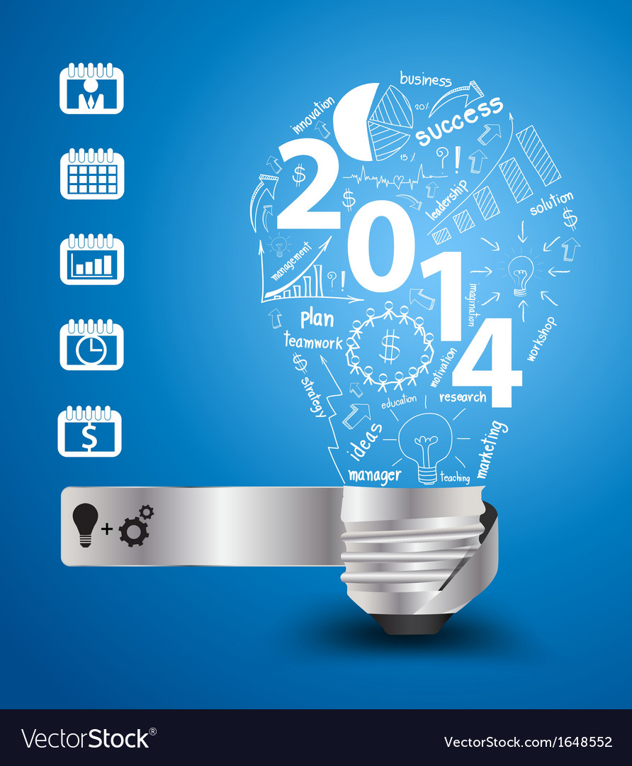 2014 new year with light bulb idea vector | Price: 1 Credit (USD $1)