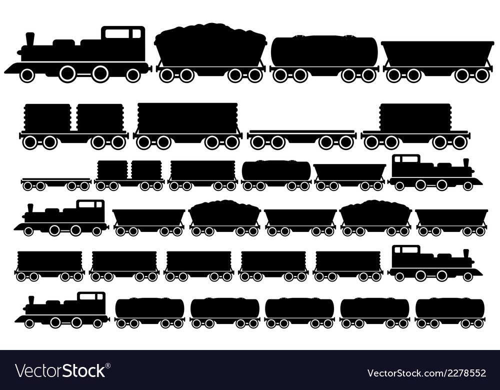 Cargo train set vector | Price: 1 Credit (USD $1)
