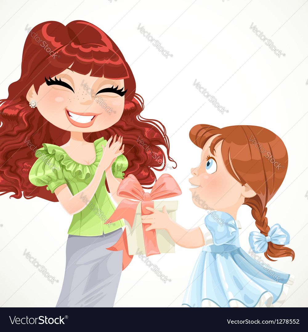 Daughter gives mom a gift for mothers day vector | Price: 1 Credit (USD $1)