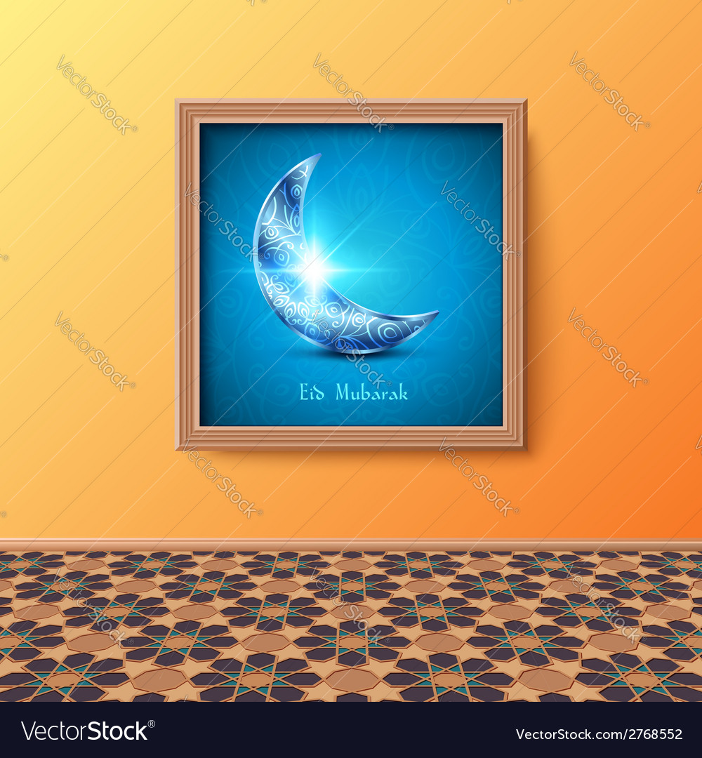 Interior room with tiled floor and picture vector | Price: 1 Credit (USD $1)