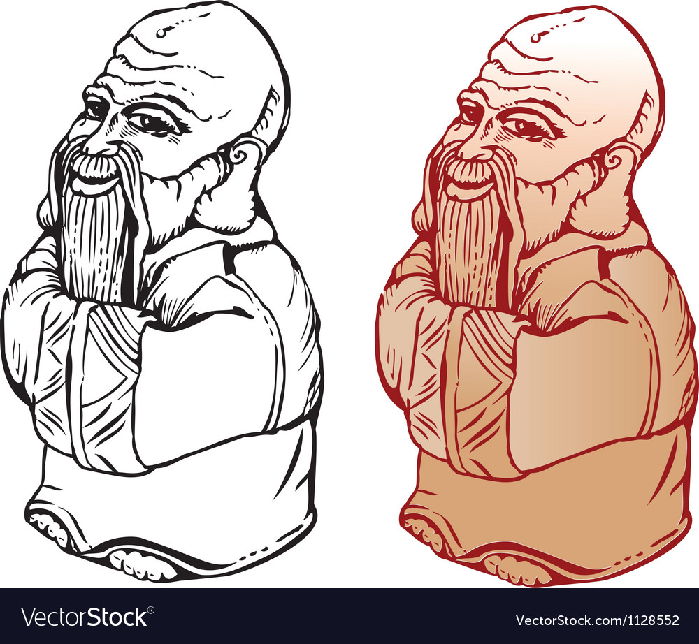 Netsuke figure black and white and color pictures vector | Price: 1 Credit (USD $1)