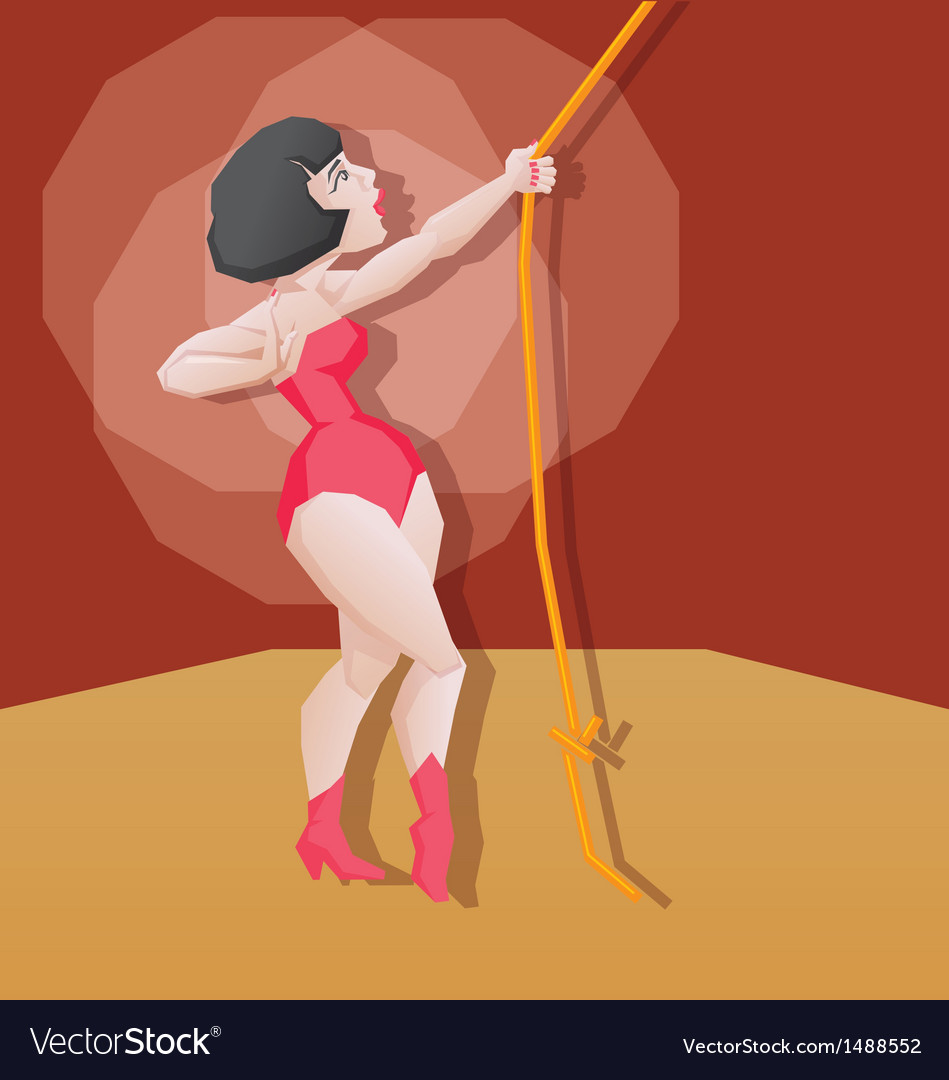 Pin-up cartoon girl circus aerial artist vector | Price: 3 Credit (USD $3)