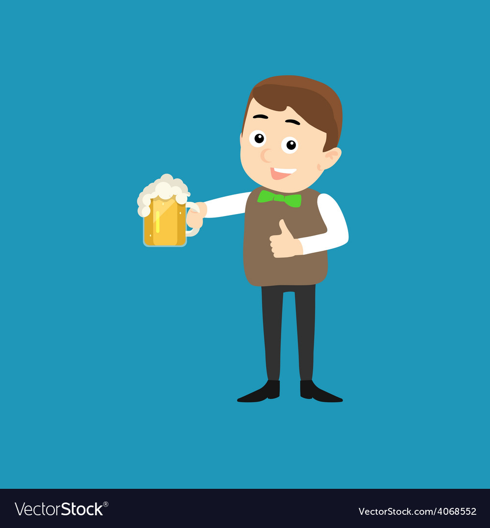 Poster for oktoberfest - smiling man with beer vector | Price: 1 Credit (USD $1)