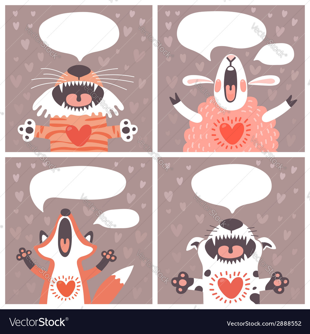 Set of cards with funny animals vector | Price: 1 Credit (USD $1)