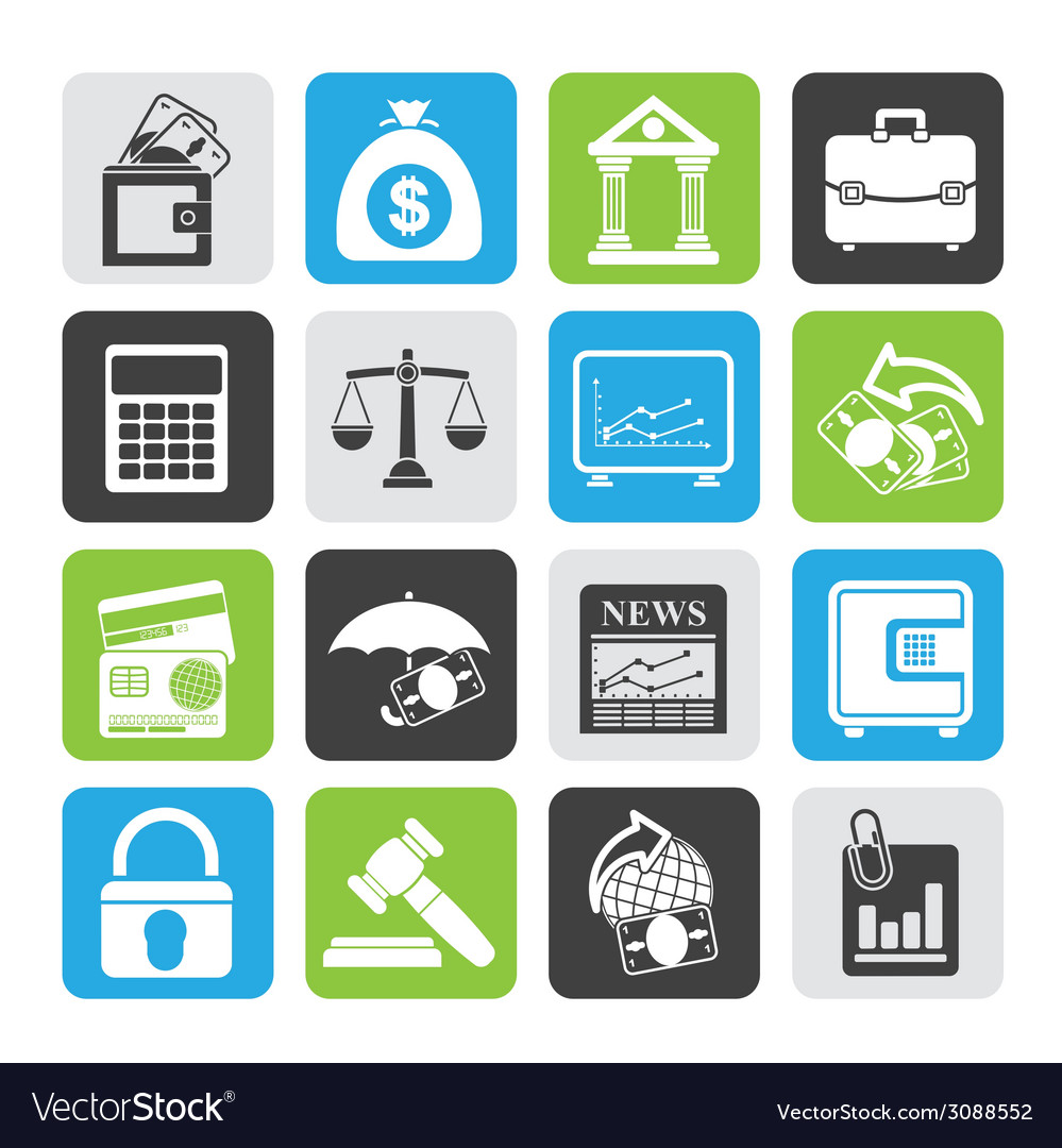 Silhouette finance and bank icons vector | Price: 1 Credit (USD $1)