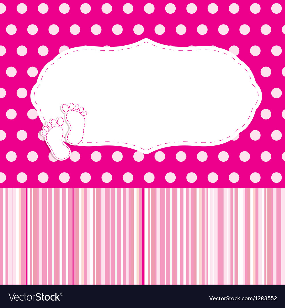 Vintage baby girl arrival announcement card vector   Price: 1 Credit (USD $1)