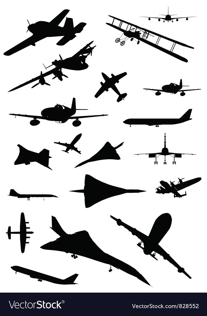 Vintage plane silhouette vector | Price: 1 Credit (USD $1)