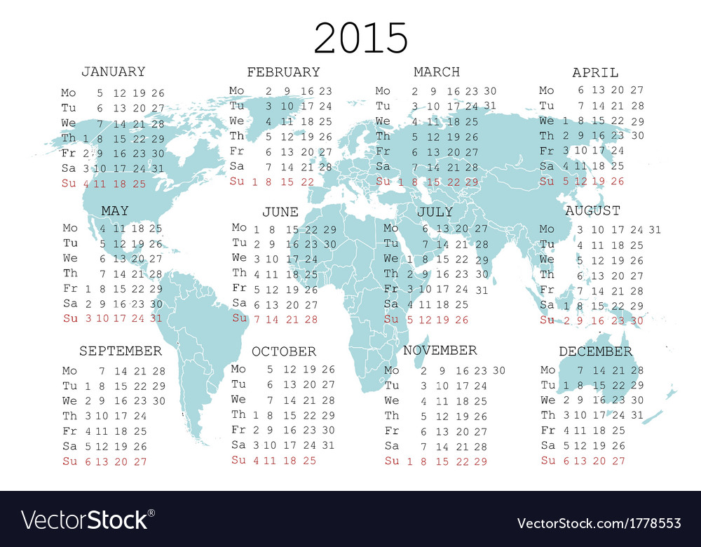 2015 calendar with world map vector | Price: 1 Credit (USD $1)