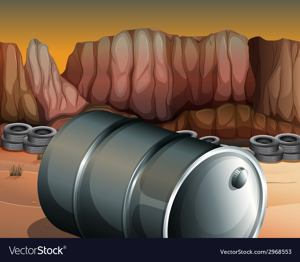 A desert with a barrel and tires vector | Price: 1 Credit (USD $1)