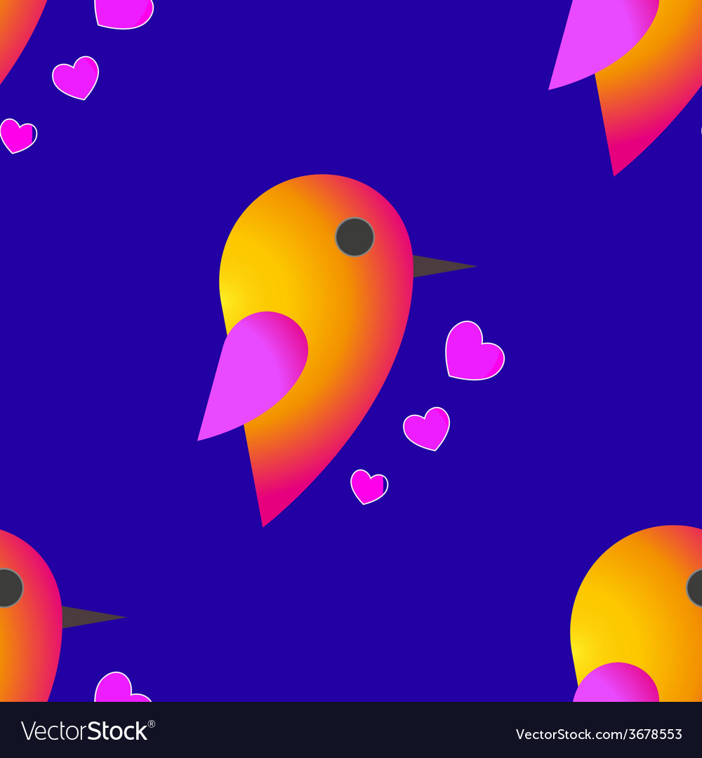 Bird sparrow st valentines day seamless pattern vector | Price: 1 Credit (USD $1)