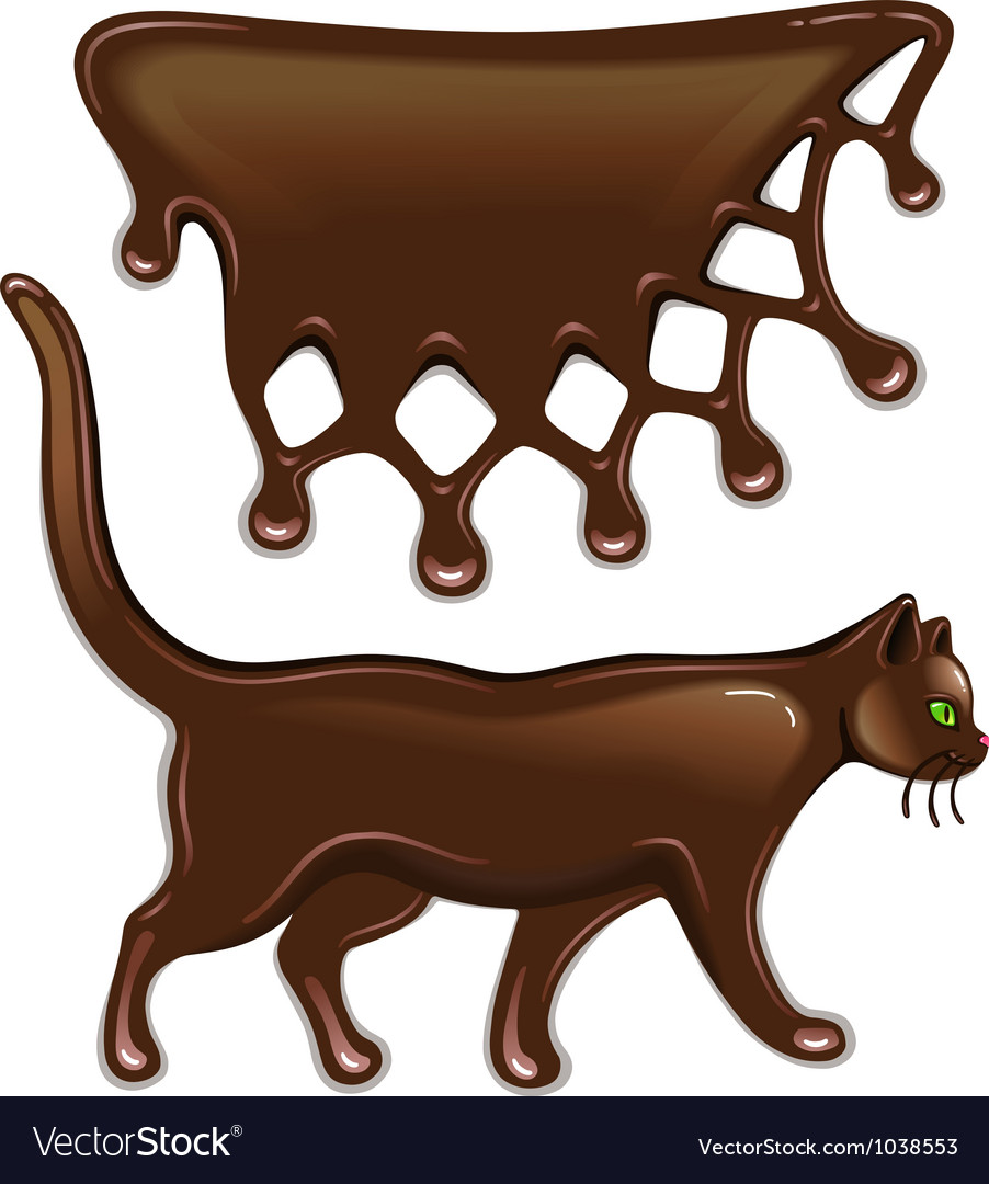Chocolate decor and cat vector | Price: 1 Credit (USD $1)