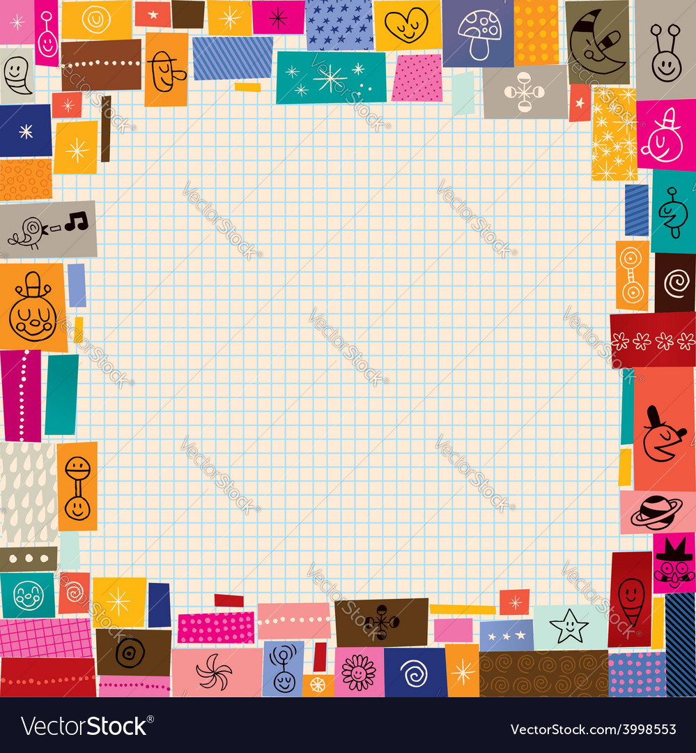 Collage doodle border vector | Price: 1 Credit (USD $1)