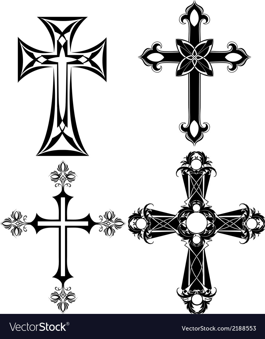 Four black cross vector | Price: 1 Credit (USD $1)