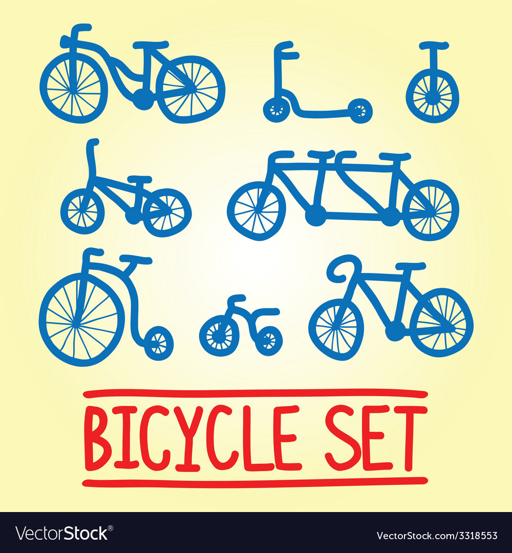Hand drawn bicycle set vector | Price: 1 Credit (USD $1)