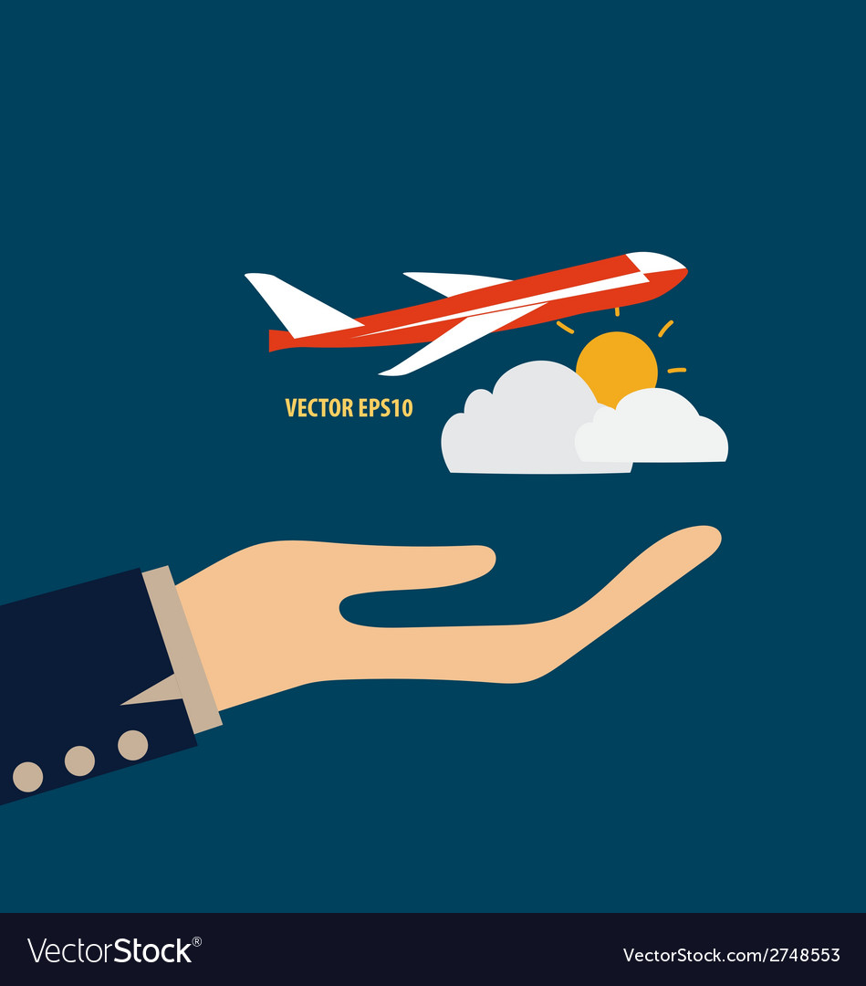 Hands holding plane vector | Price: 1 Credit (USD $1)