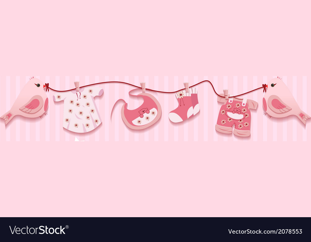 Pink girl birds laundry rope baby cloth card vector | Price: 1 Credit (USD $1)